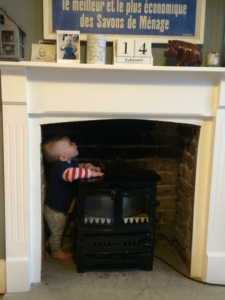 baby looking up chimney