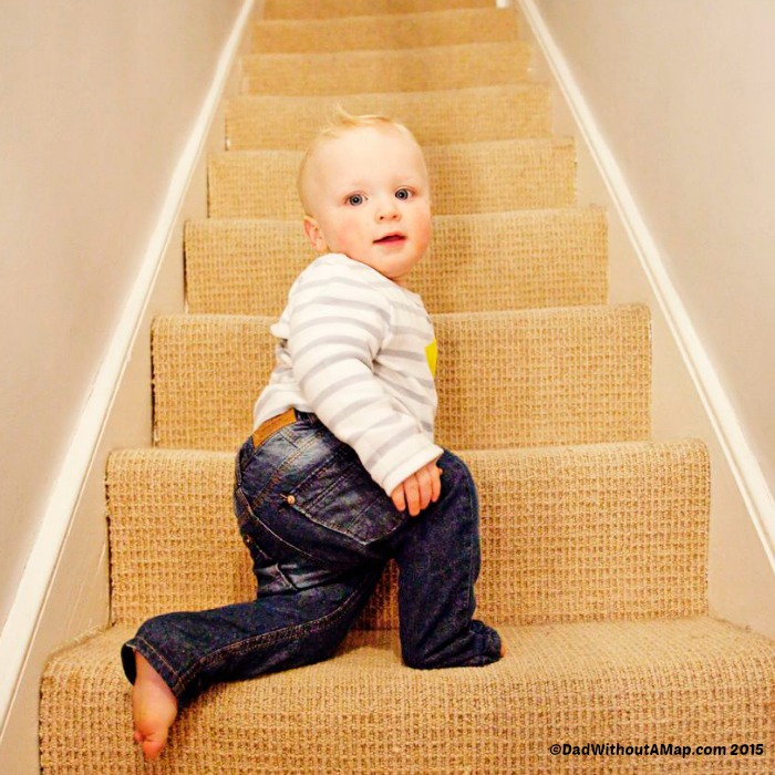 Baby on stairs